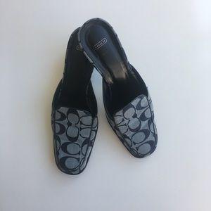 COACH Navy Blue Slip On Mule Heels Size 7B